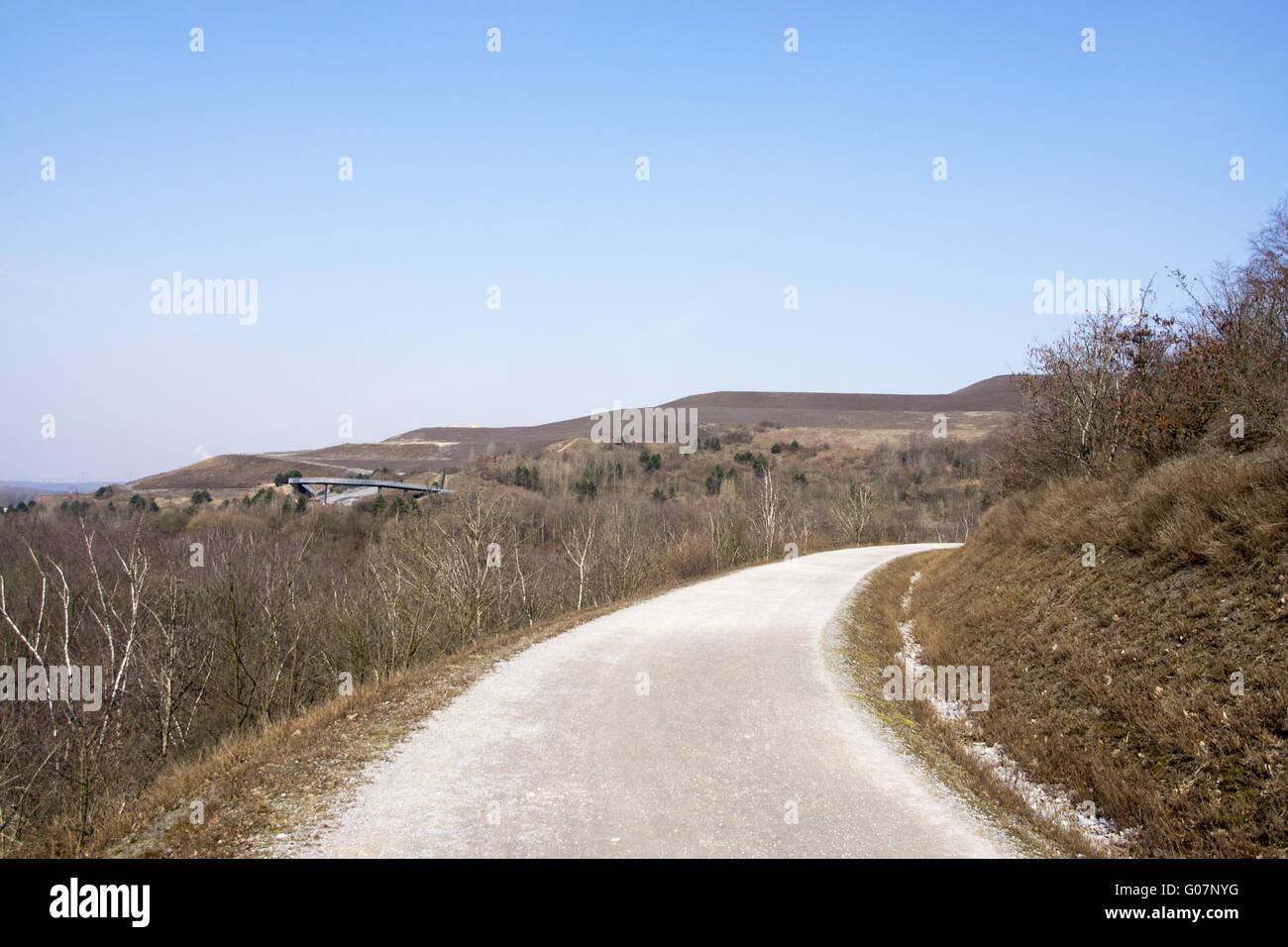 Way on the mining dump Hoheward near Herten , ruhr Stock Photo