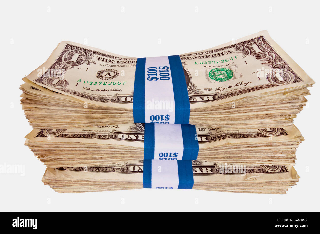 Stacks Of Cash American Isolated - Stock Image