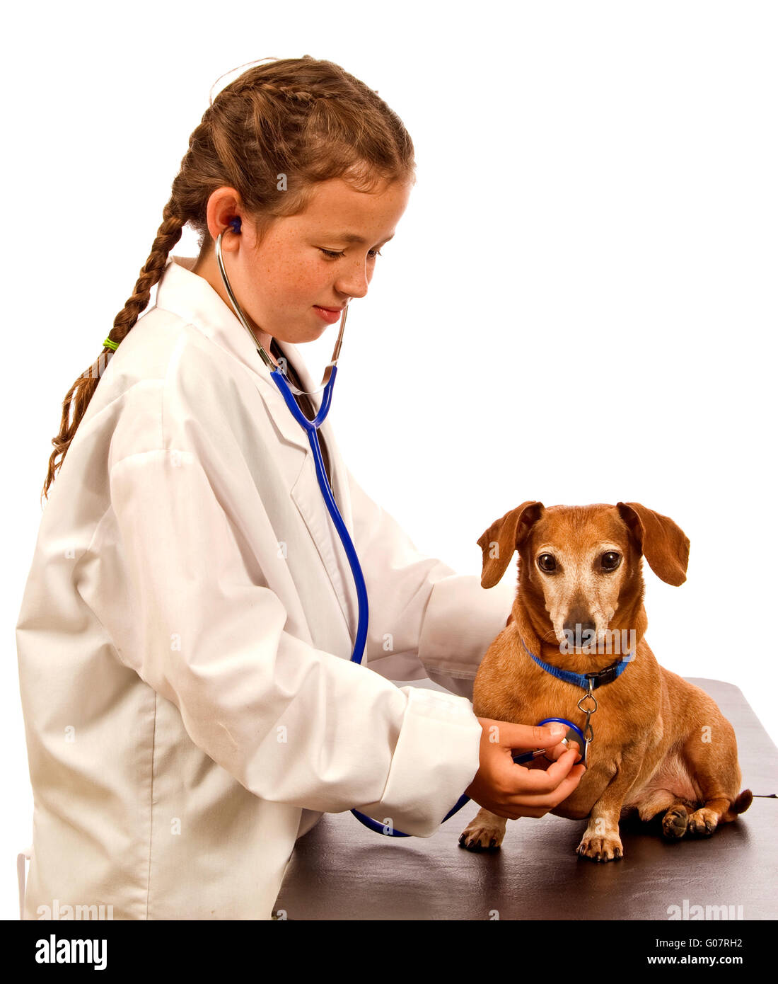 Little Girl Playing Doctor or Veterinarian - Stock Image