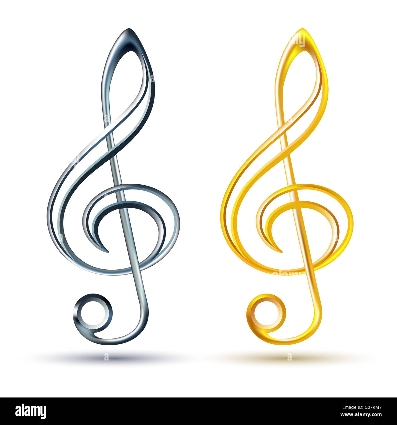 Gold and silver treble clef on white background - Stock Image