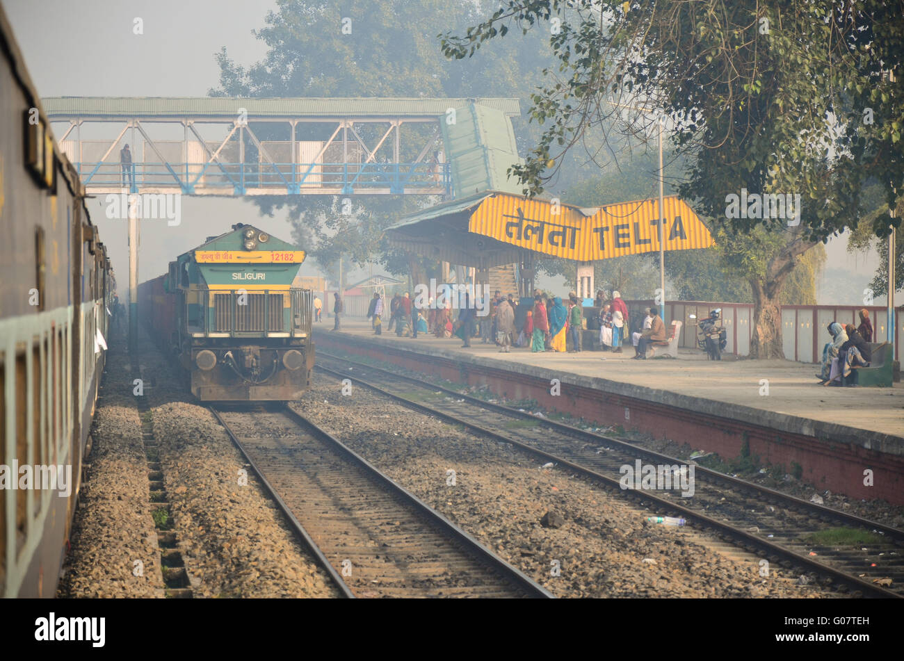 Train arriving Telta railway station on NFR ( Northeast Frontier Railway ) zone in early morning fog. - Stock Image