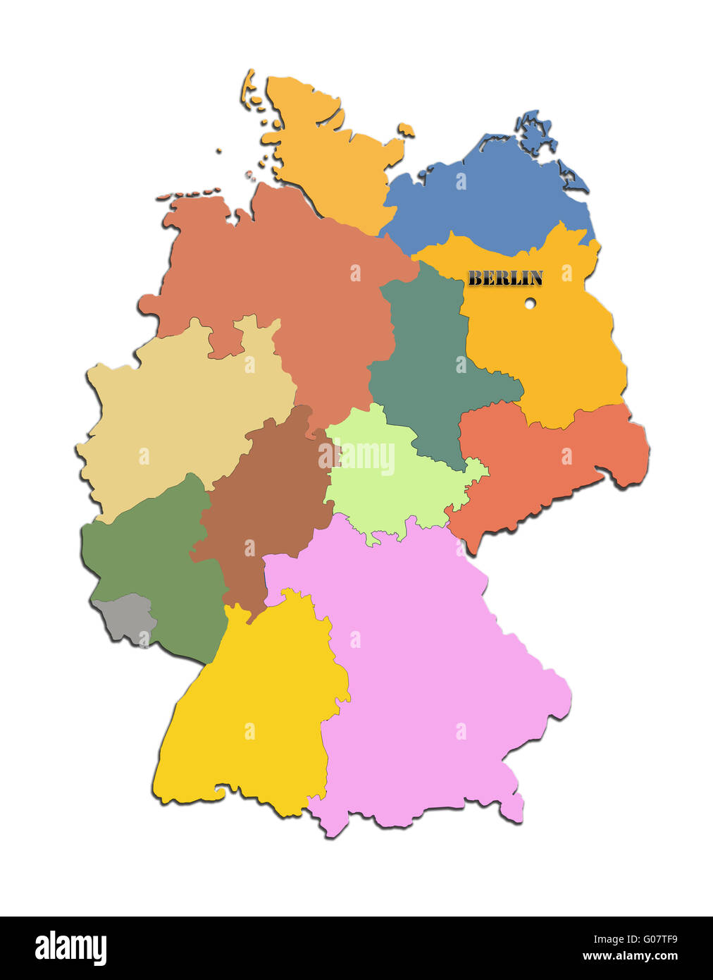 Colored silhouette of the map of Germany with regi - Stock Image