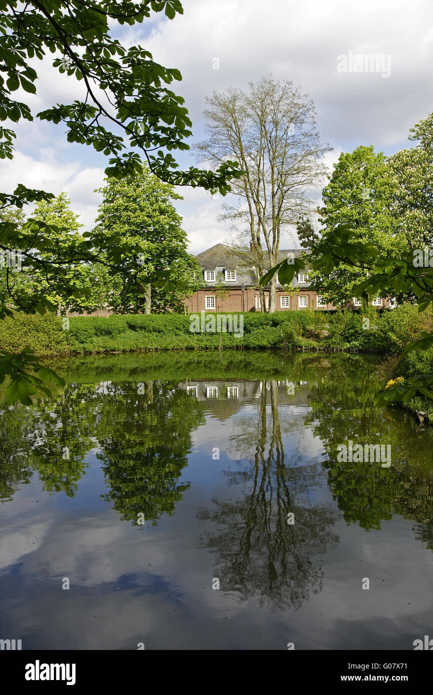 Waterreflections - castle of Nordkirchen, Germany - Stock Image