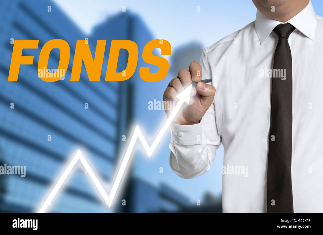 fonds (in german fund) trader distinguishes market price on touchscreen. Stock Photo