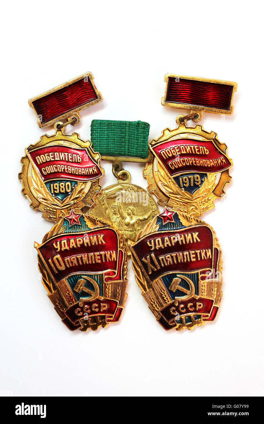 isolated images of Soviet medals for valorous work - Stock Image