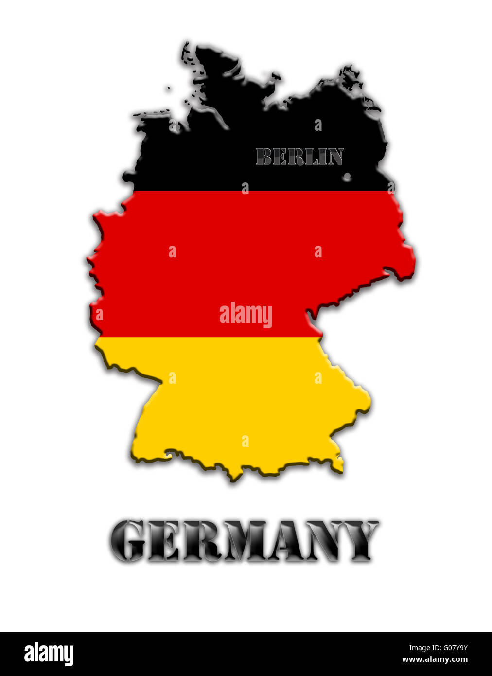 Map of Germany under color of its national colours - Stock Image
