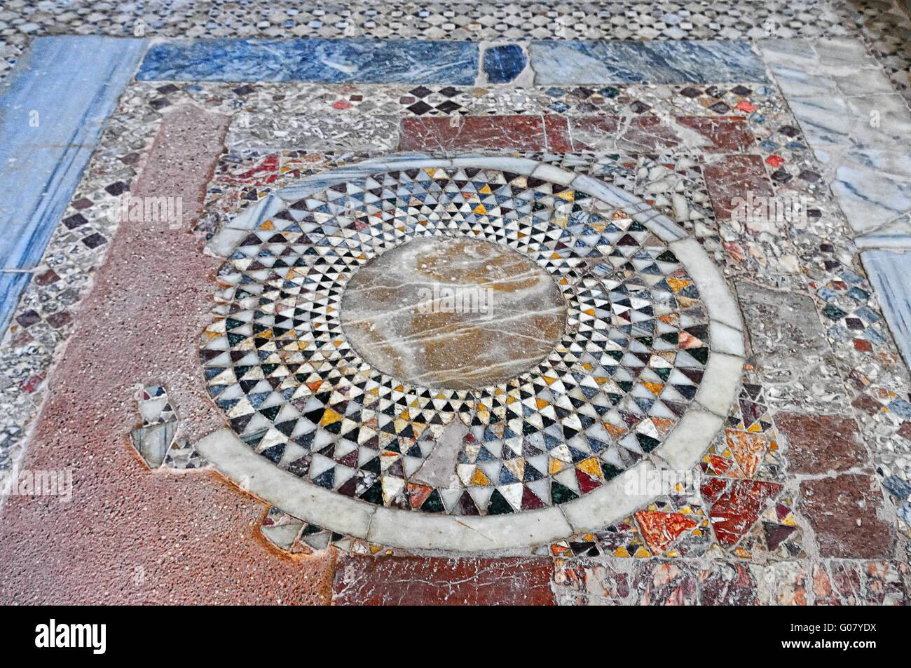 Stone mosaic on the floor of St. Nicholas in Demre - Stock Image