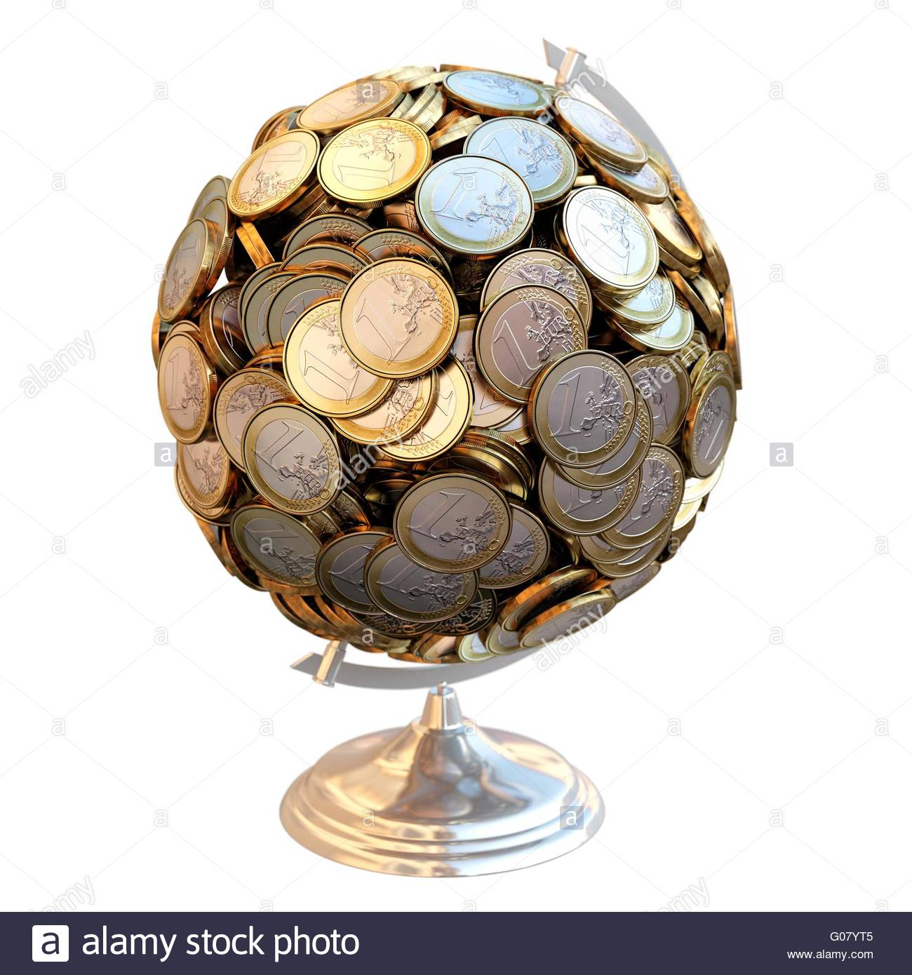 Desktop Globe created out of money. - Stock Image