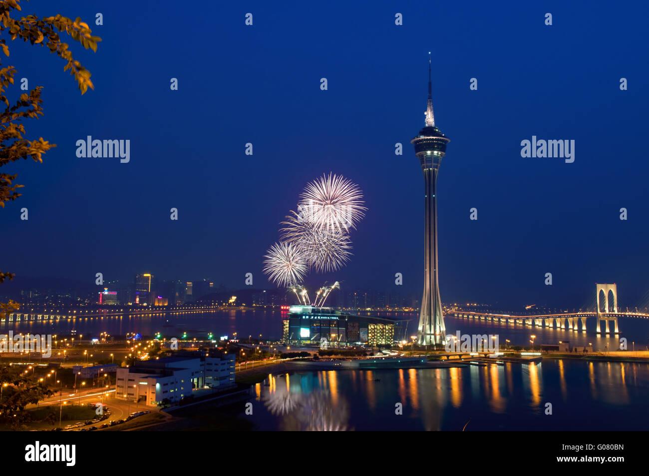 The 20th Macau International Fireworks Display Contest - Stock Image