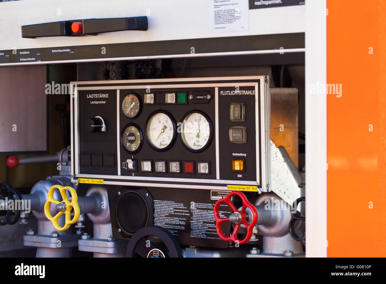 Fire brigade operating panel on emergency vehicle - Stock Image