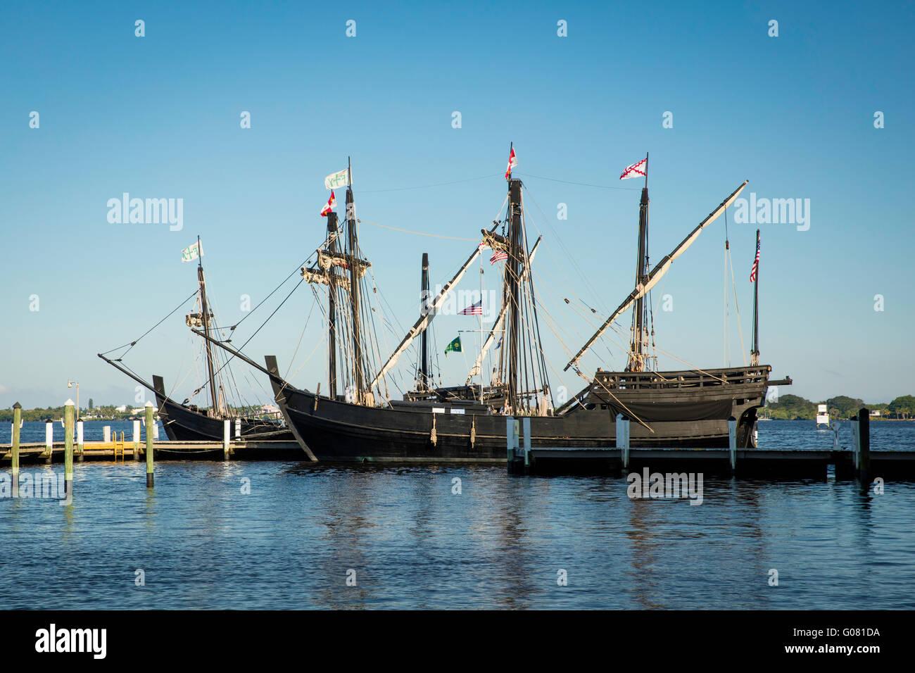 Replicas of Christopher Columbus' ships, Nina and Pinta docked in Ft. Myers, Florida, USA - Stock Image