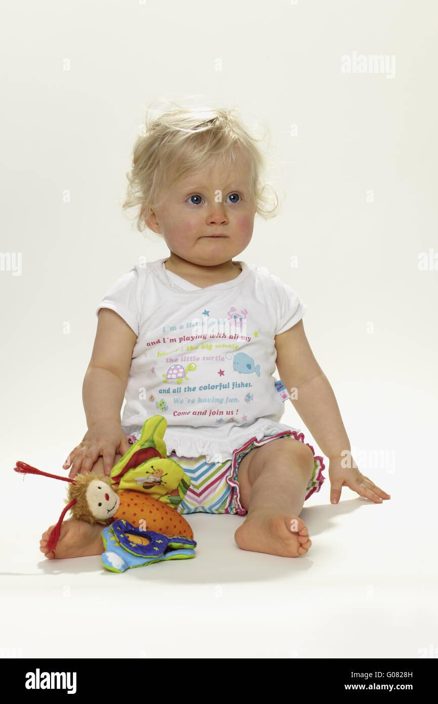 Blonde babe using toys