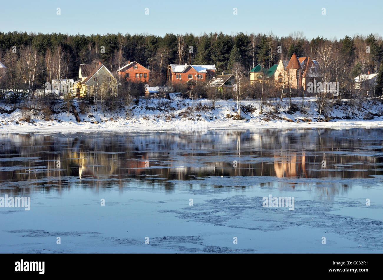 the River Neva.Russia Leningrad region,winter,Ivanovskie rapids - Stock Image