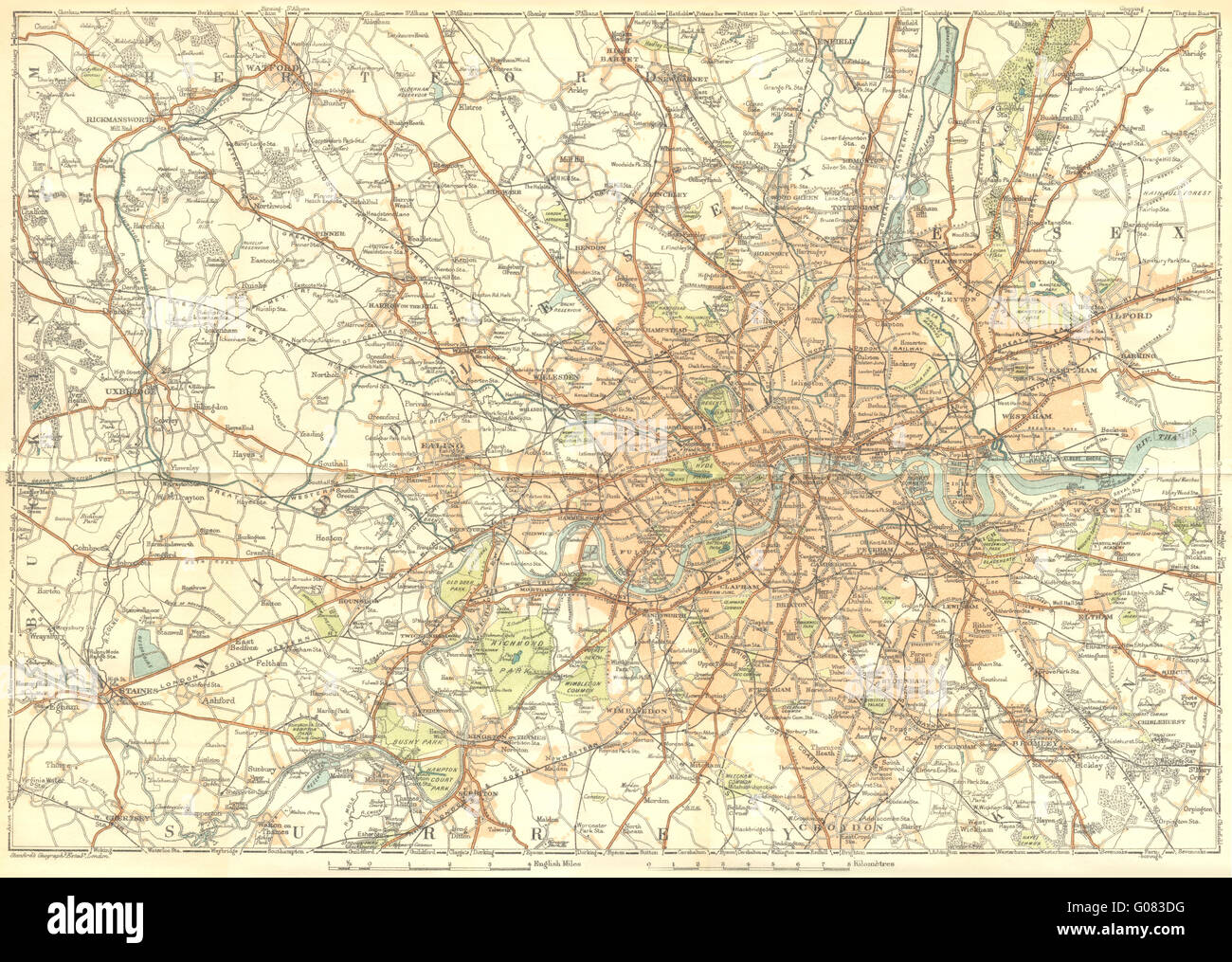 london area of 1924 vintage map stock image
