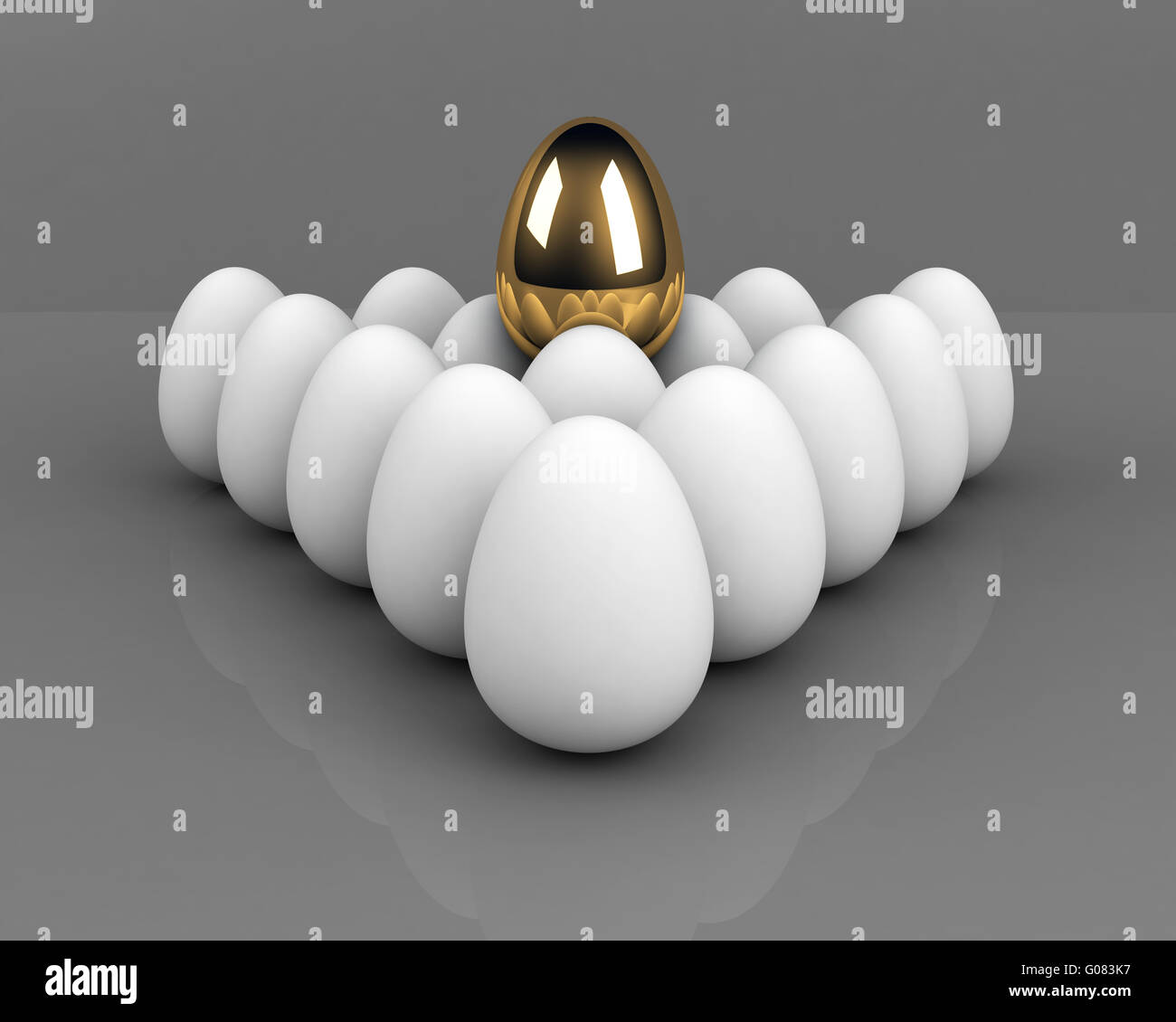 unique egg above the crowd  leadership concept ove - Stock Image