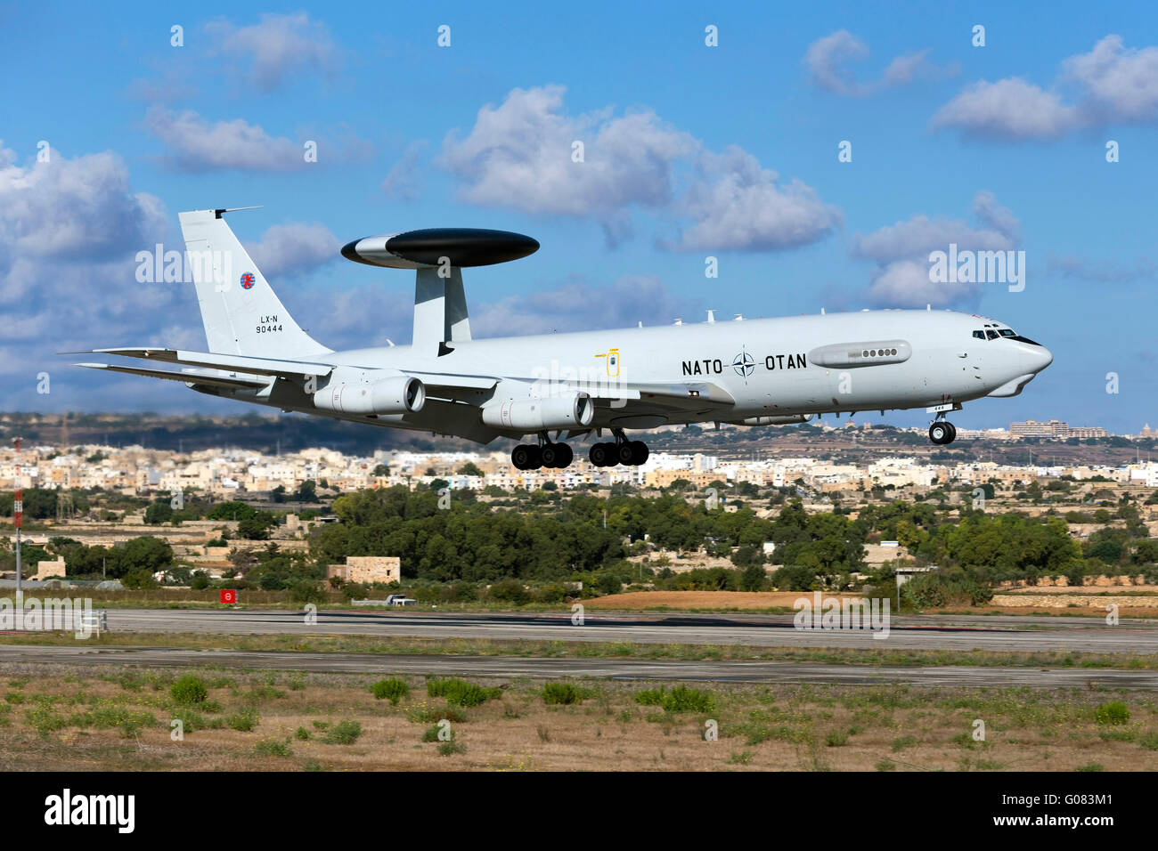 Luxembourg NATO Boeing E-3A Sentry (707-300) on departure after having participated in the Airshow during the previous - Stock Image