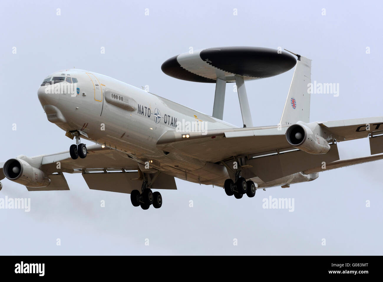 Luxembourg NATO Boeing E-3A Sentry (707-300) arriving to participate in the Airshow during the next weekend. - Stock Image