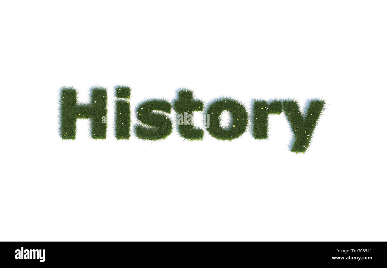 History: Series Fonts out of realistic grass Language E - Stock Image