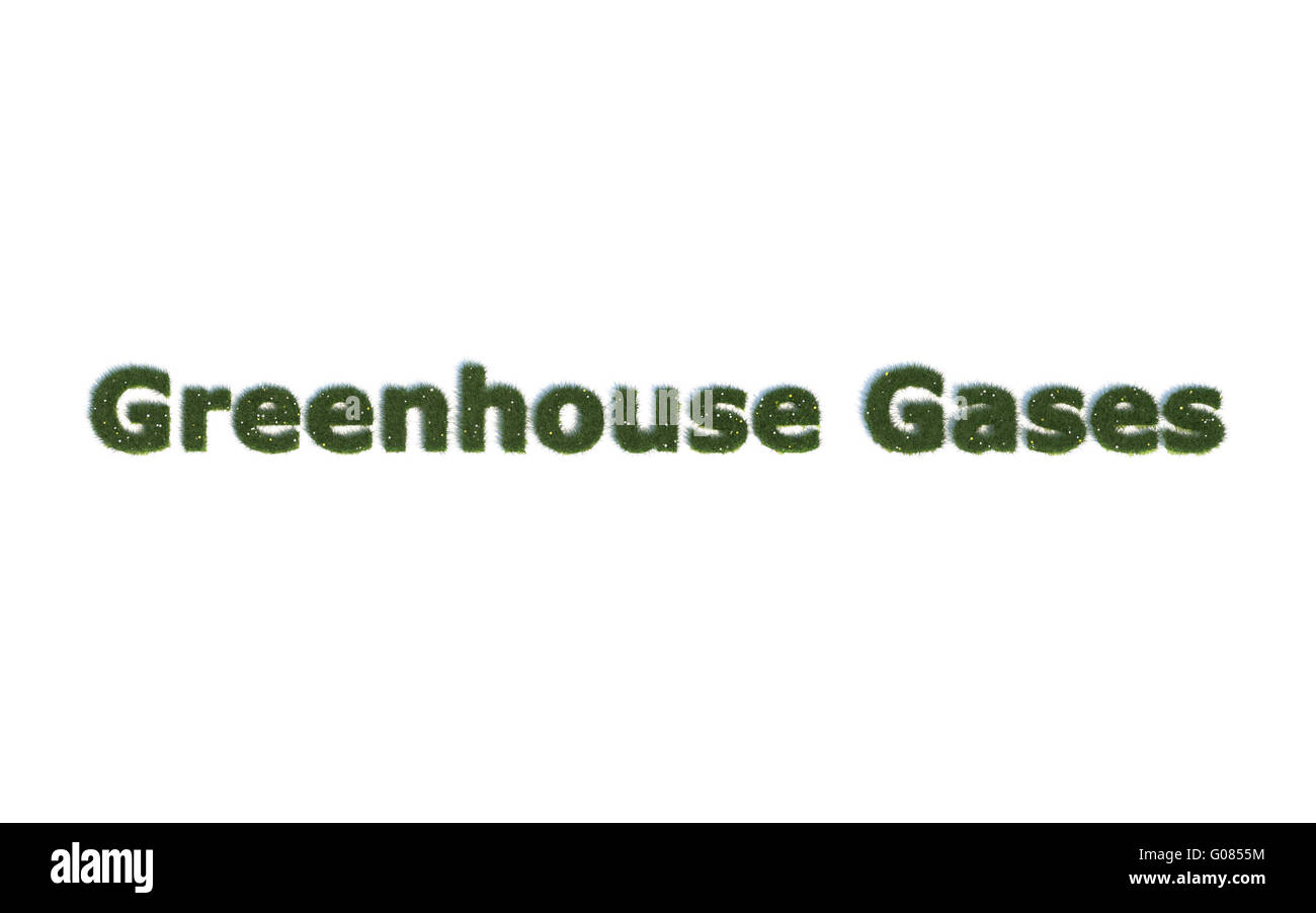 Greenhose Gases: Series Fonts out of realistic grass Language E - Stock Image