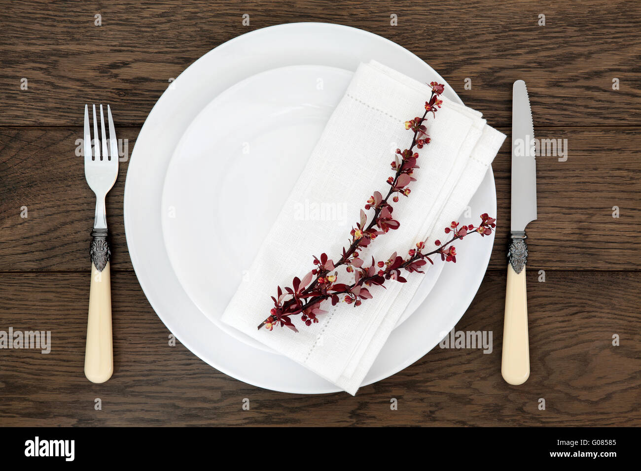 Dinner table place setting with white round porcelain dishes berberis leaf sprig linen napkin with antique cutlery. & Dinner table place setting with white round porcelain dishes Stock ...