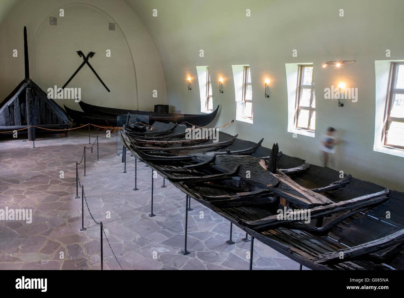 Norway, Oslo, The Viking Ship Museum. The Tune Ship, oak Viking ship, c. around 900 AD. - Stock Image