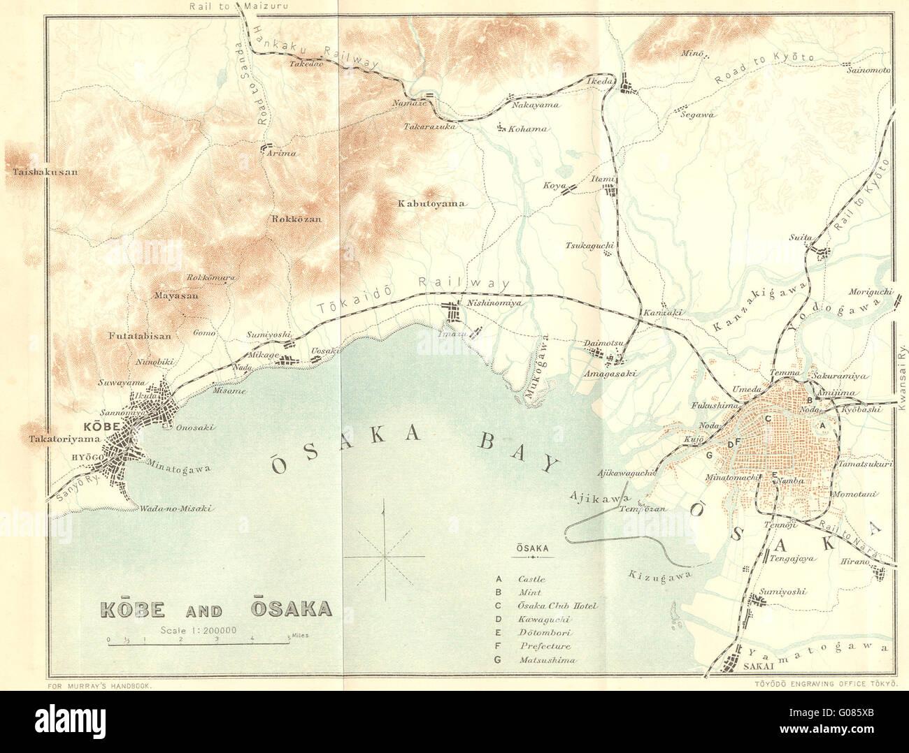 Japan Kobe Osaka 1907 Antique Map Stock Photo 103442483 Alamy