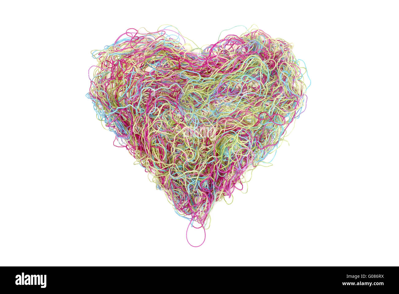 multicolored heart of threads isolated on white - Stock Image