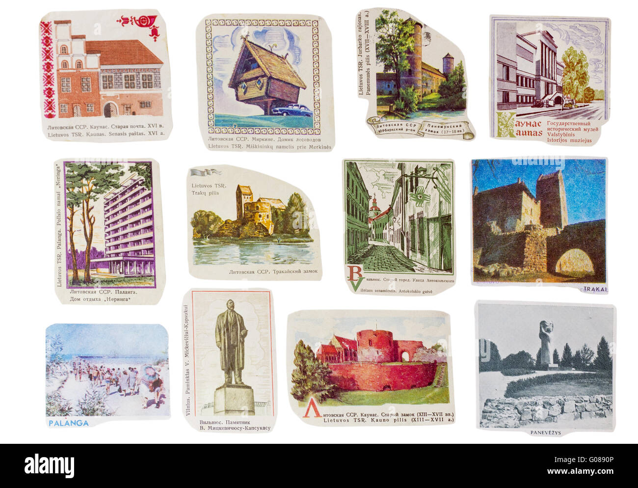 Soviet Union  banners set- Lithuanian  cities - Stock Image