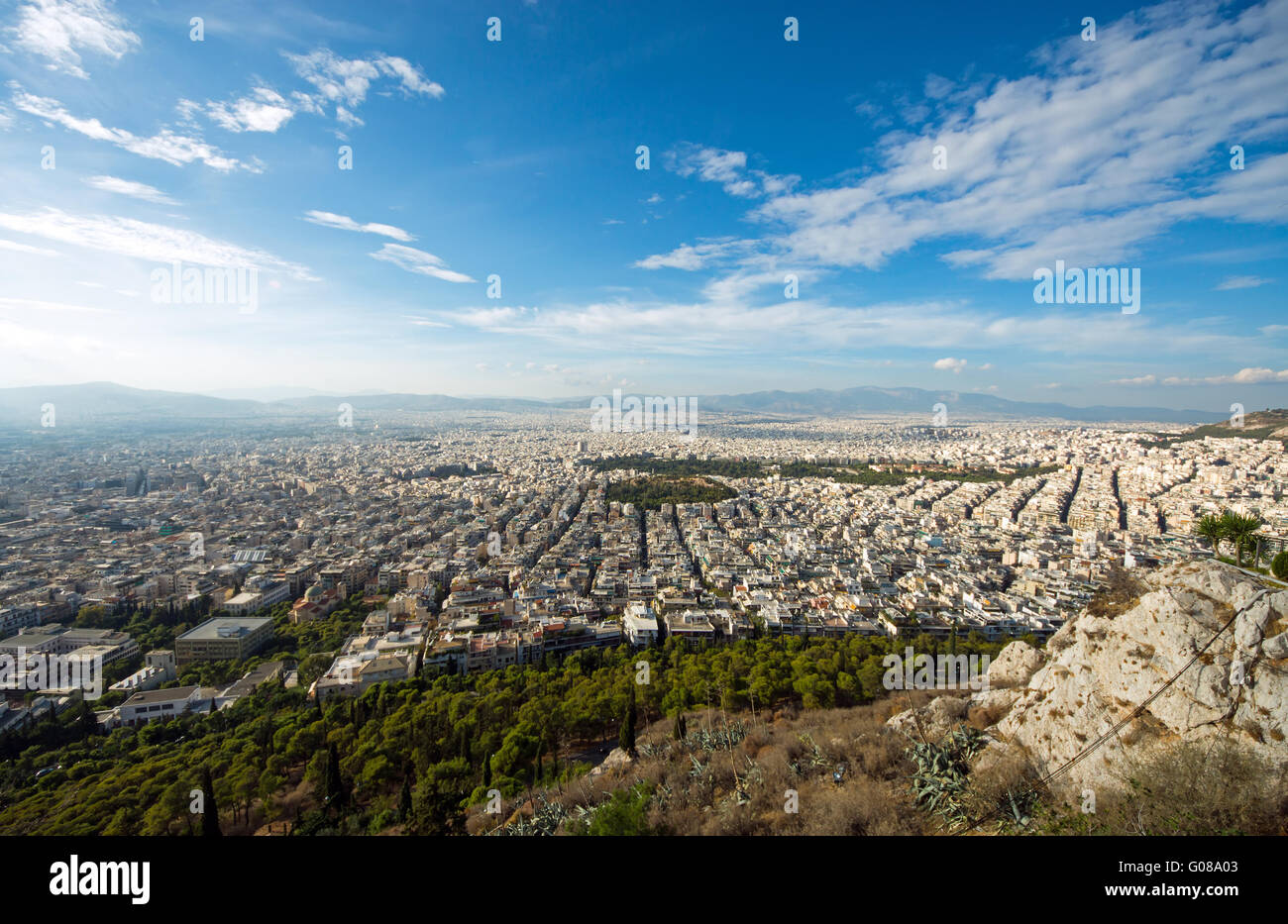 View over Athens in Greece from Mount Lycabettus Stock Photo