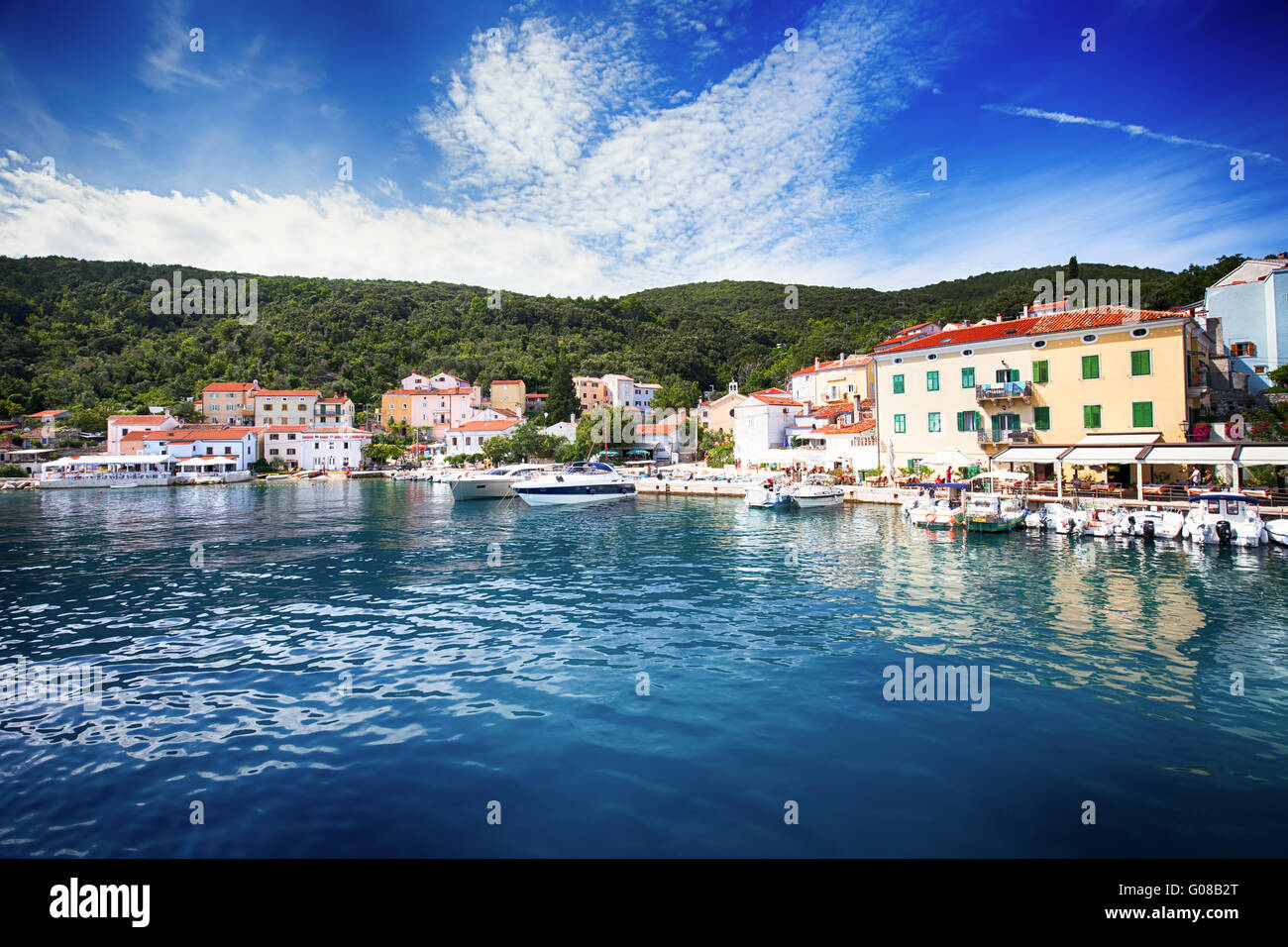 VALUN, CROATIA - August 26, 2914: View to the village Valun with harbor and boats, Cres island, Croatia Stock Photo