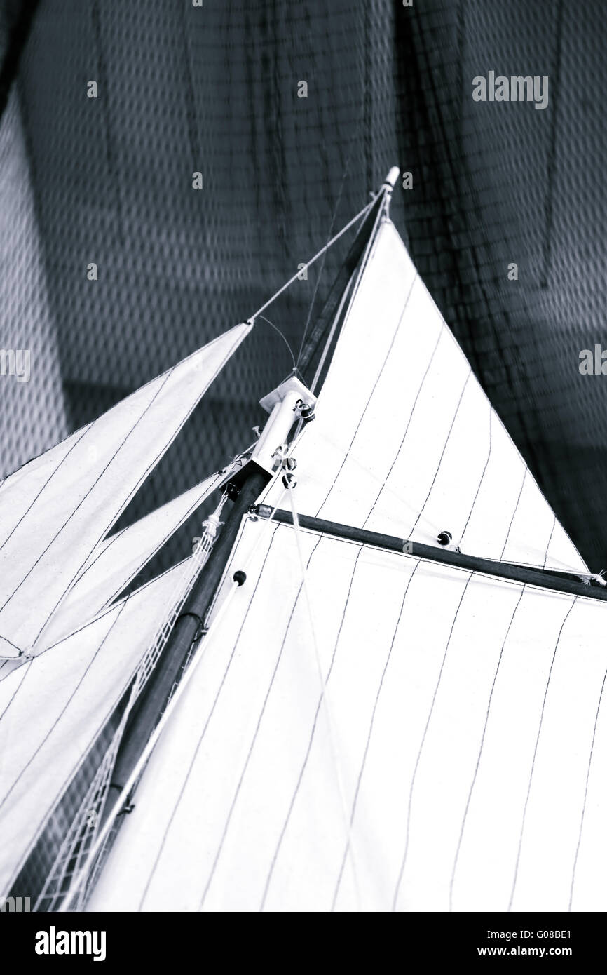 Ship canvas and fishing net - Stock Image