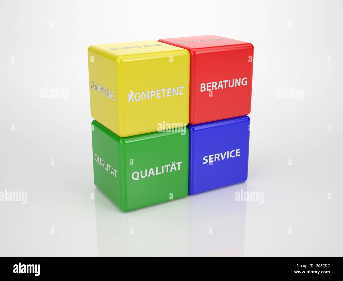 Colored Customer Service Cubes Language German - Stock Image