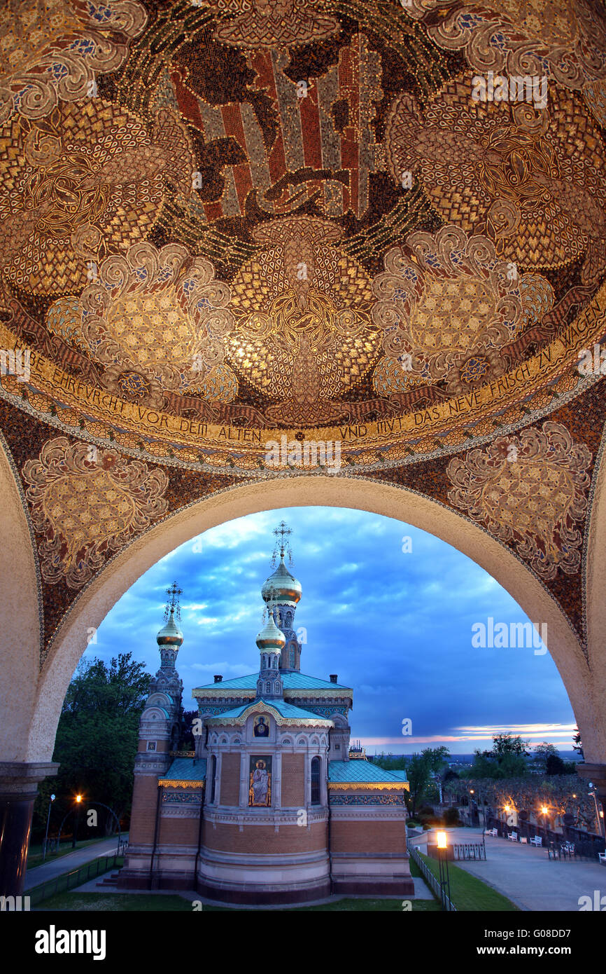 Atmosphere in the evening with russian church - Stock Image