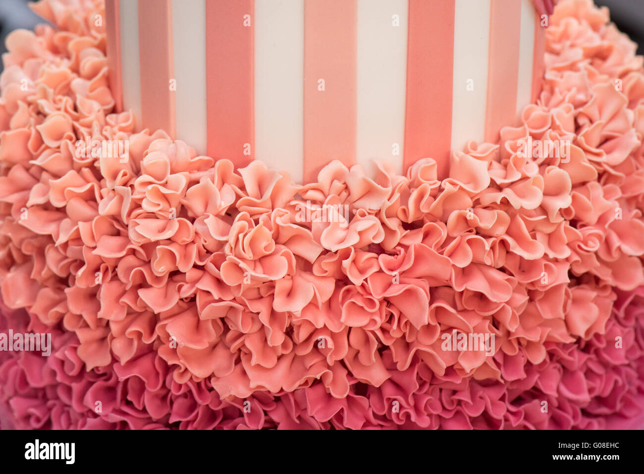 Icing Cake Frills On Birthday Cake At Cake International The Stock
