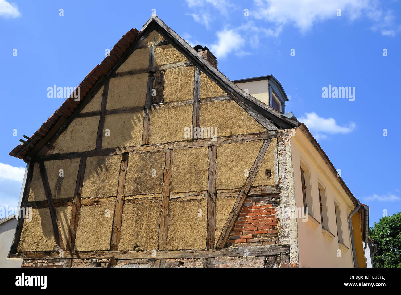 dilapidated half-timbered house in the town of Bra Stock Photo