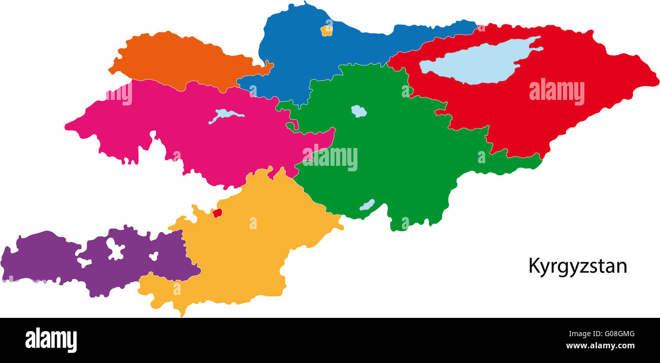 Colorful Kyrgyzstan map - Stock Image