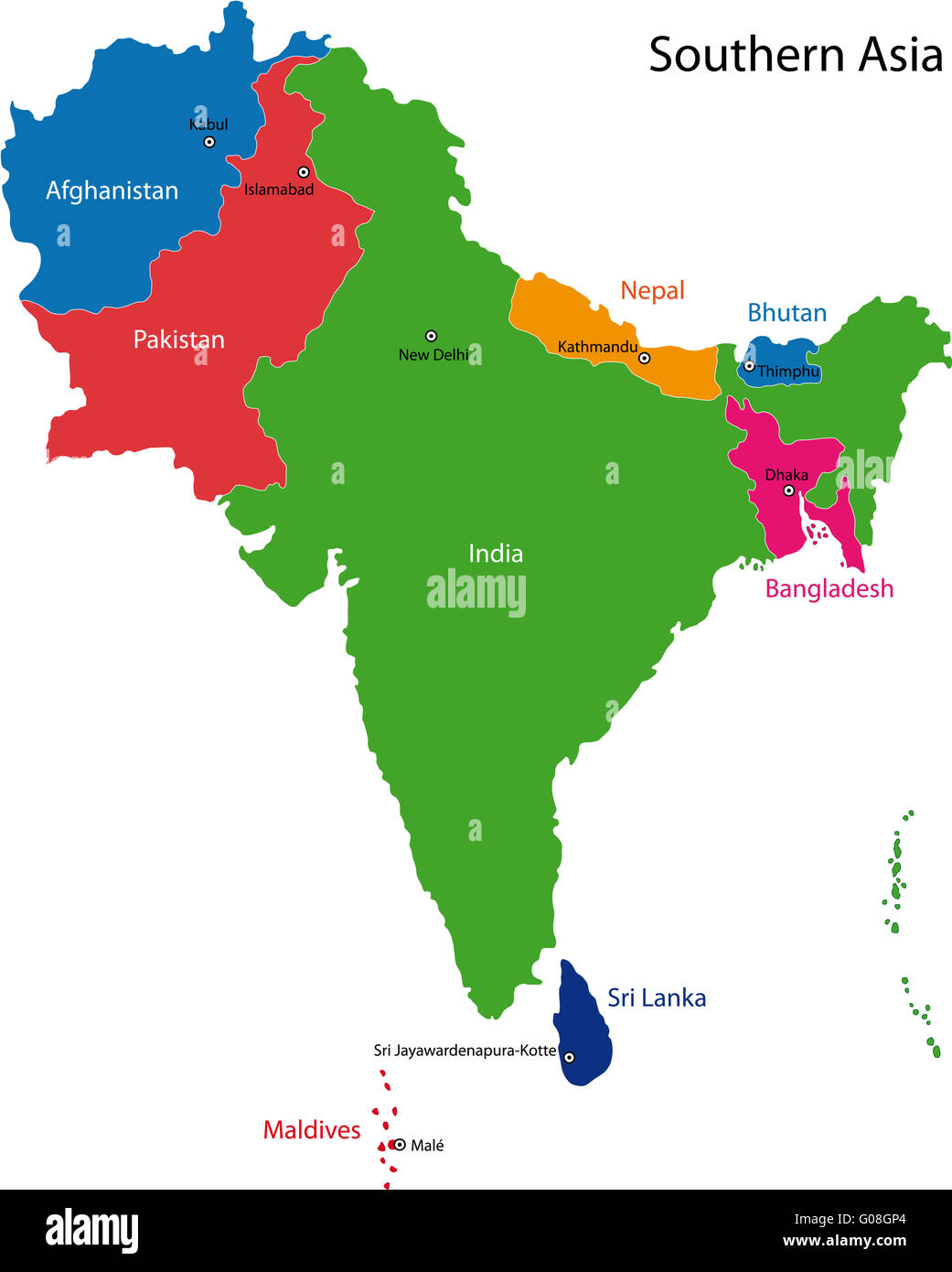 Southern Asia map Stock Photo