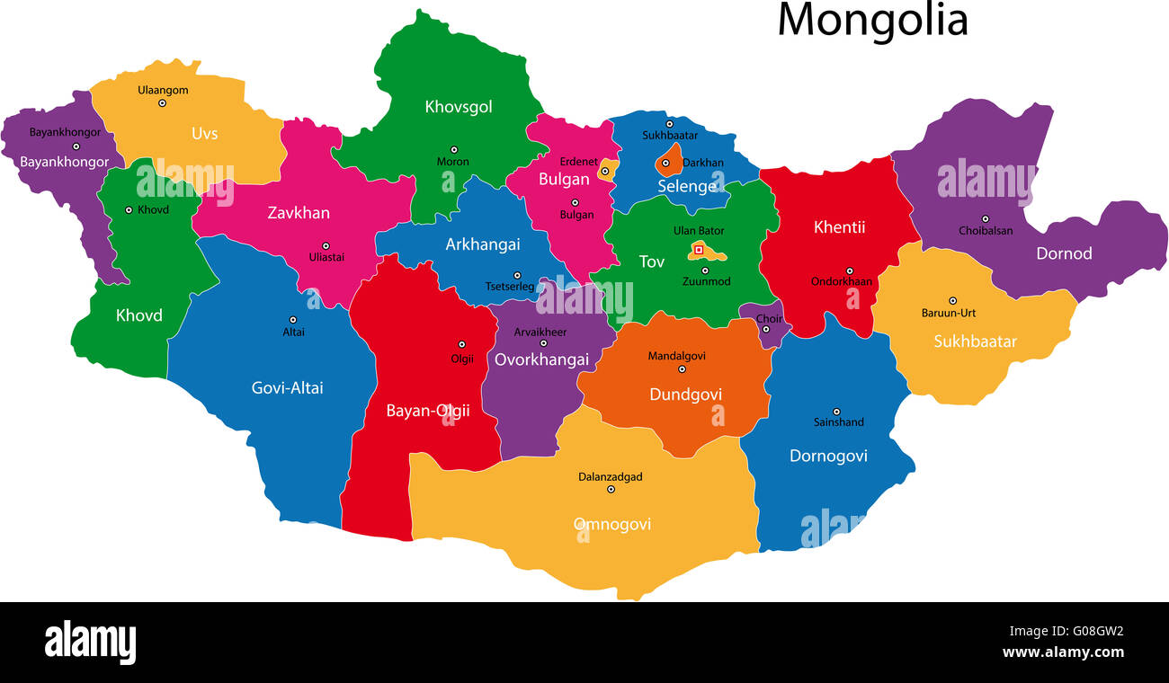 Mongolia map - Stock Image