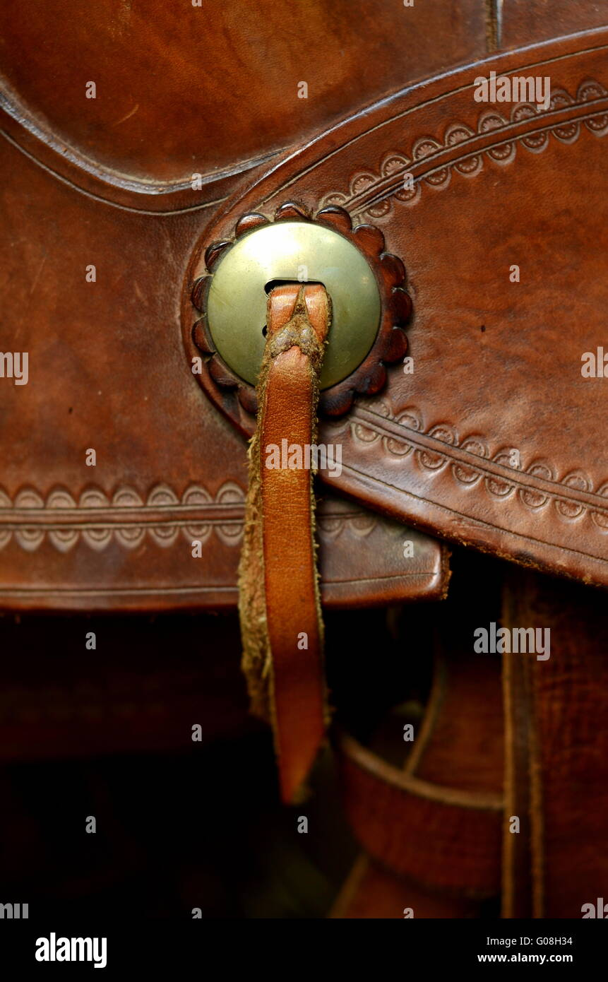 Detail Of Decoration On A Western Horse Saddle Stock Photo