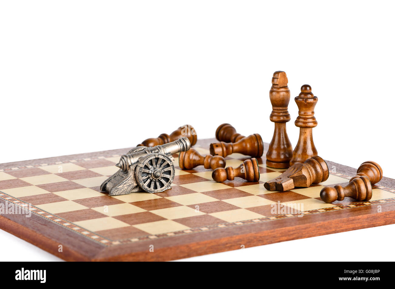 Battle with a gun on a chess board - Stock Image