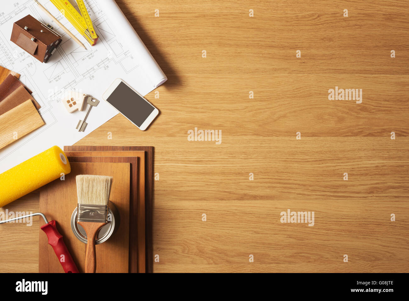 Do it yourself home remodeling and renovation concept work table do it yourself home remodeling and renovation concept work table top view with copyspace and tools top view solutioingenieria Choice Image