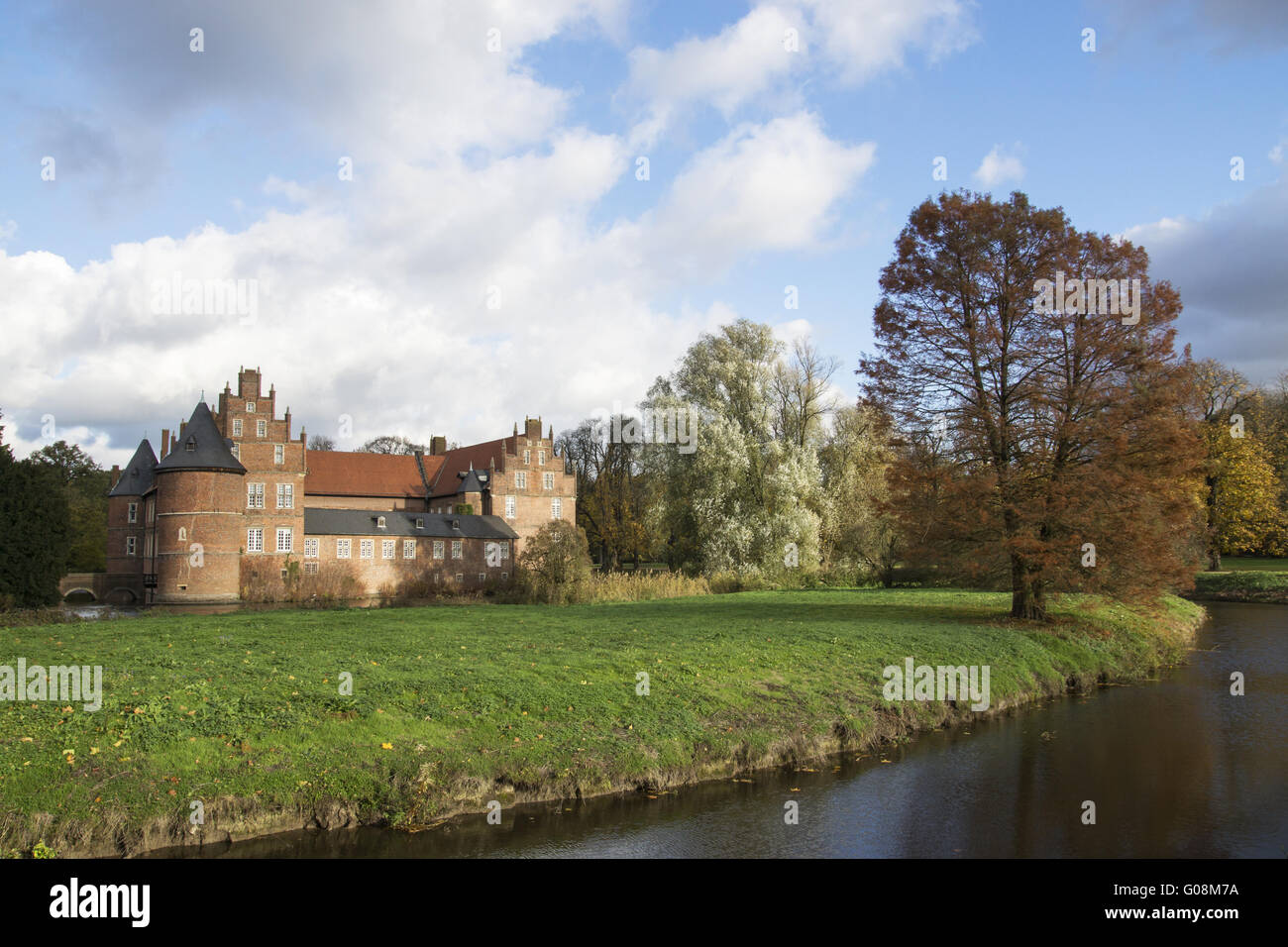 Autumnally atmosphere on the moated castle in Hert Stock Photo
