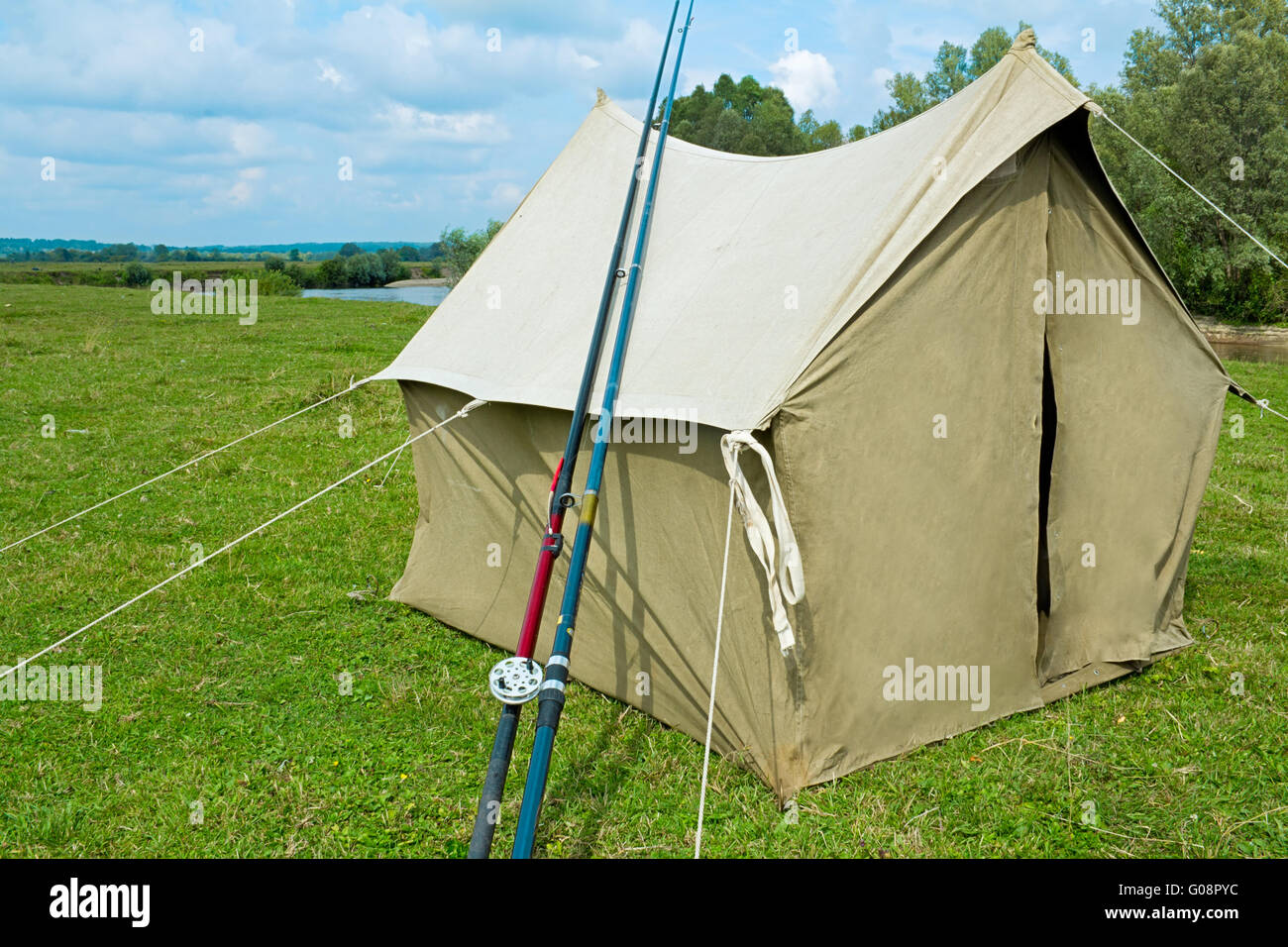The tent from a canvas for fishing and tourism. Le - Stock Image