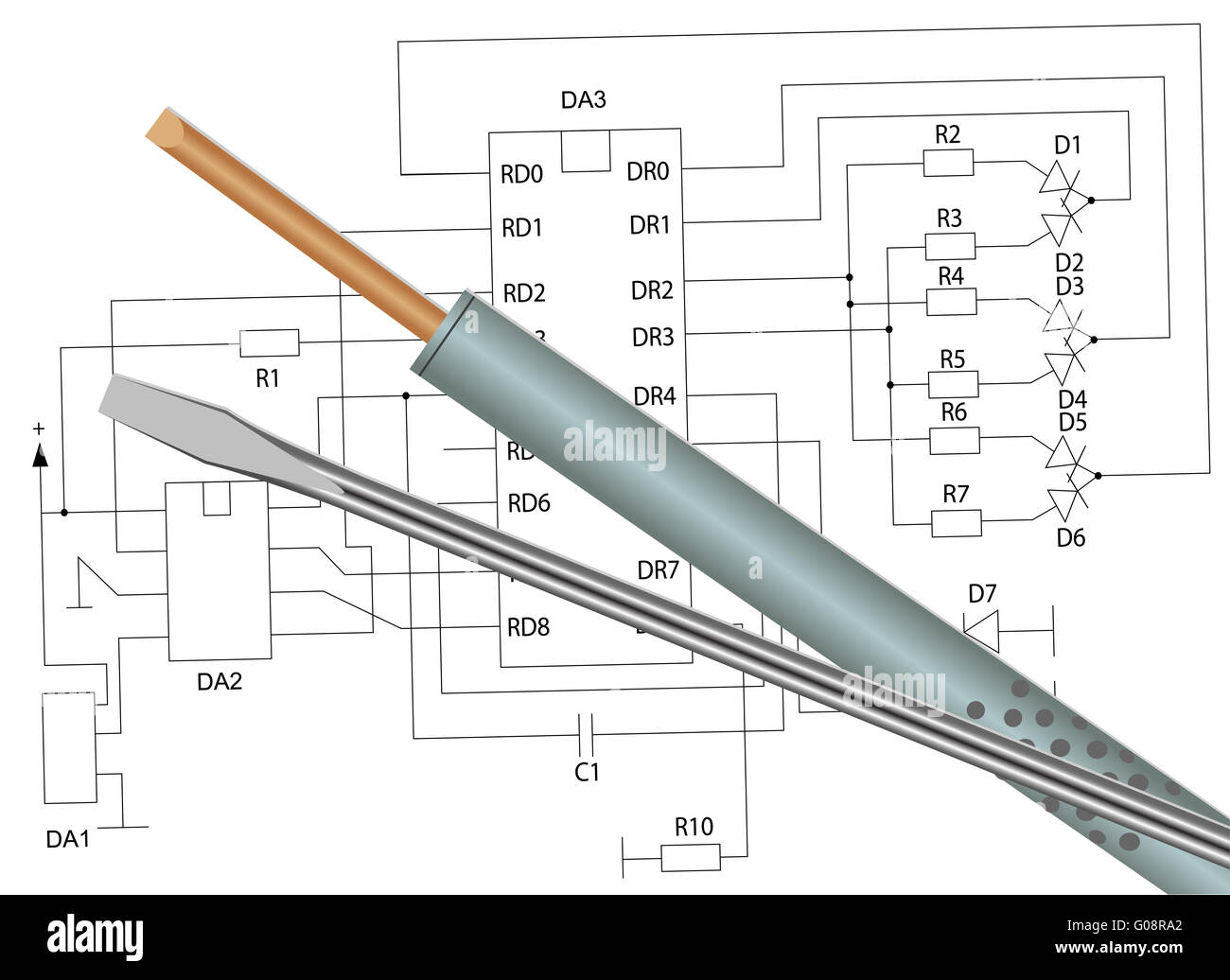 Soldering iron, screwdriver and electronic circuit - Stock Image