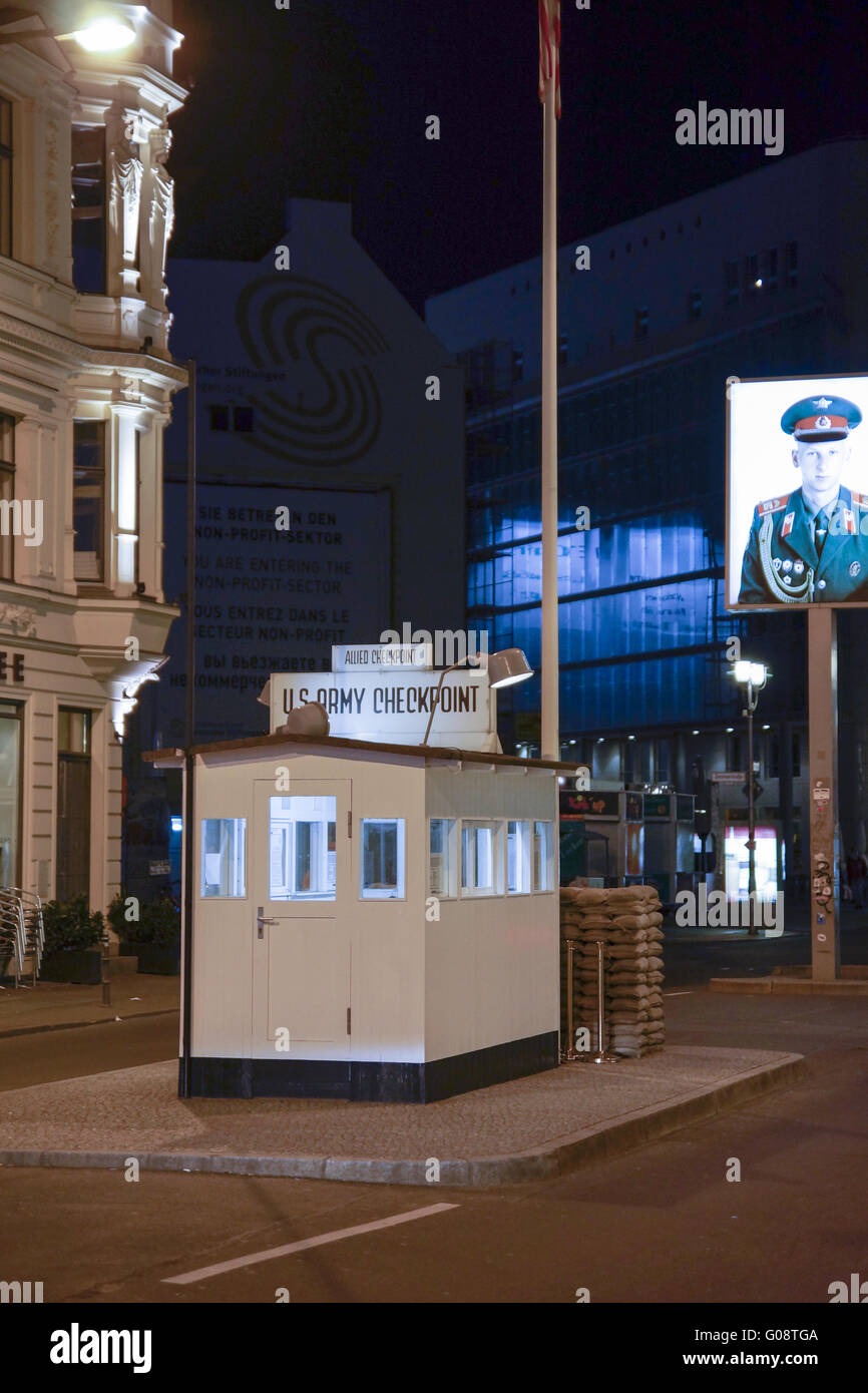Control point Checkpoint Charlie in Berlin, German Stock Photo