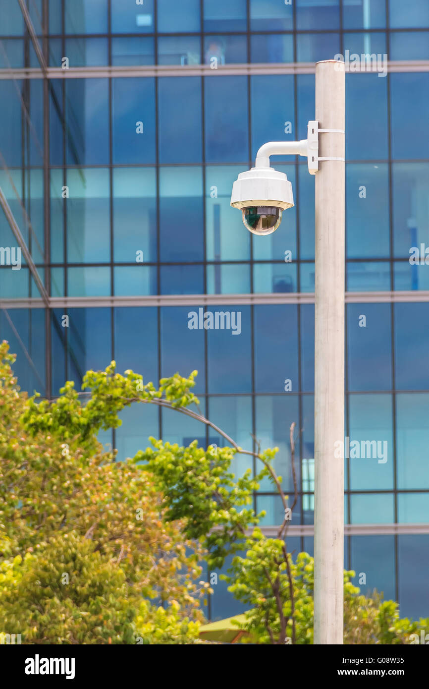 Security Camera with Building Background, CCTV Cam - Stock Image