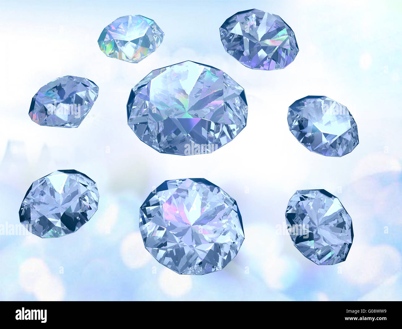 Set of eight diamonds on light blue background - Stock Image