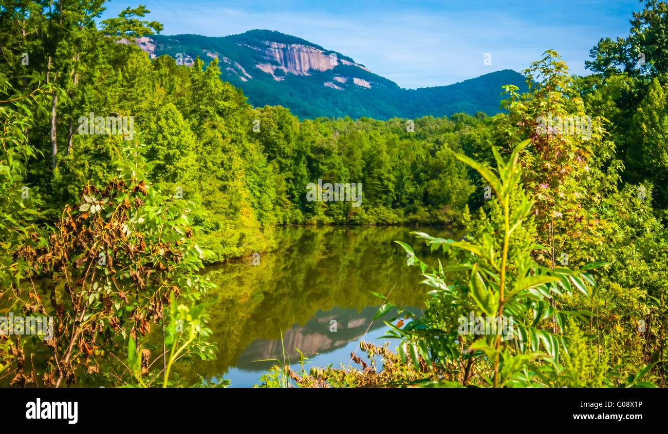 table top mountain with reflections in a lake - Stock Image