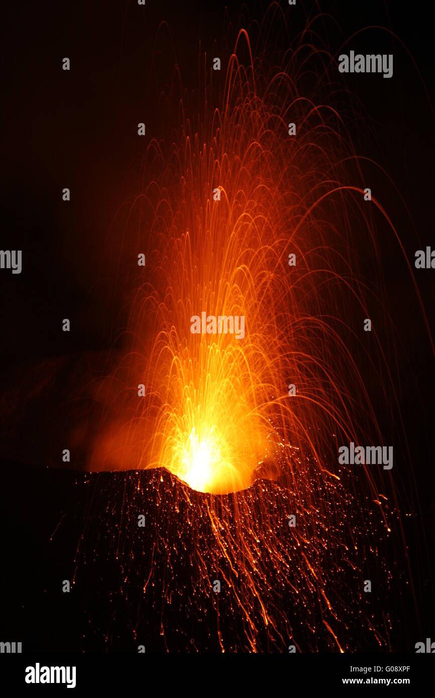 Volcano stromboli erupting - Stock Image