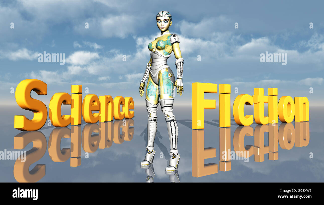 Female Robot with the words Science Fiction - Stock Image